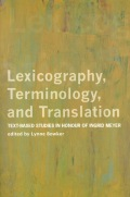 Lexicography, Terminology, and Translation Cover