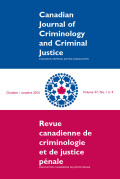 Canadian Journal of Criminology and Criminal Justice cover