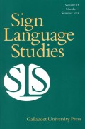 Sign Language Studies cover