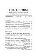 An Important New Study of Thomas Aquinas: Jean-Pierre Torrell's <i>Initiation À Saint Thomas d'Aquin</i>