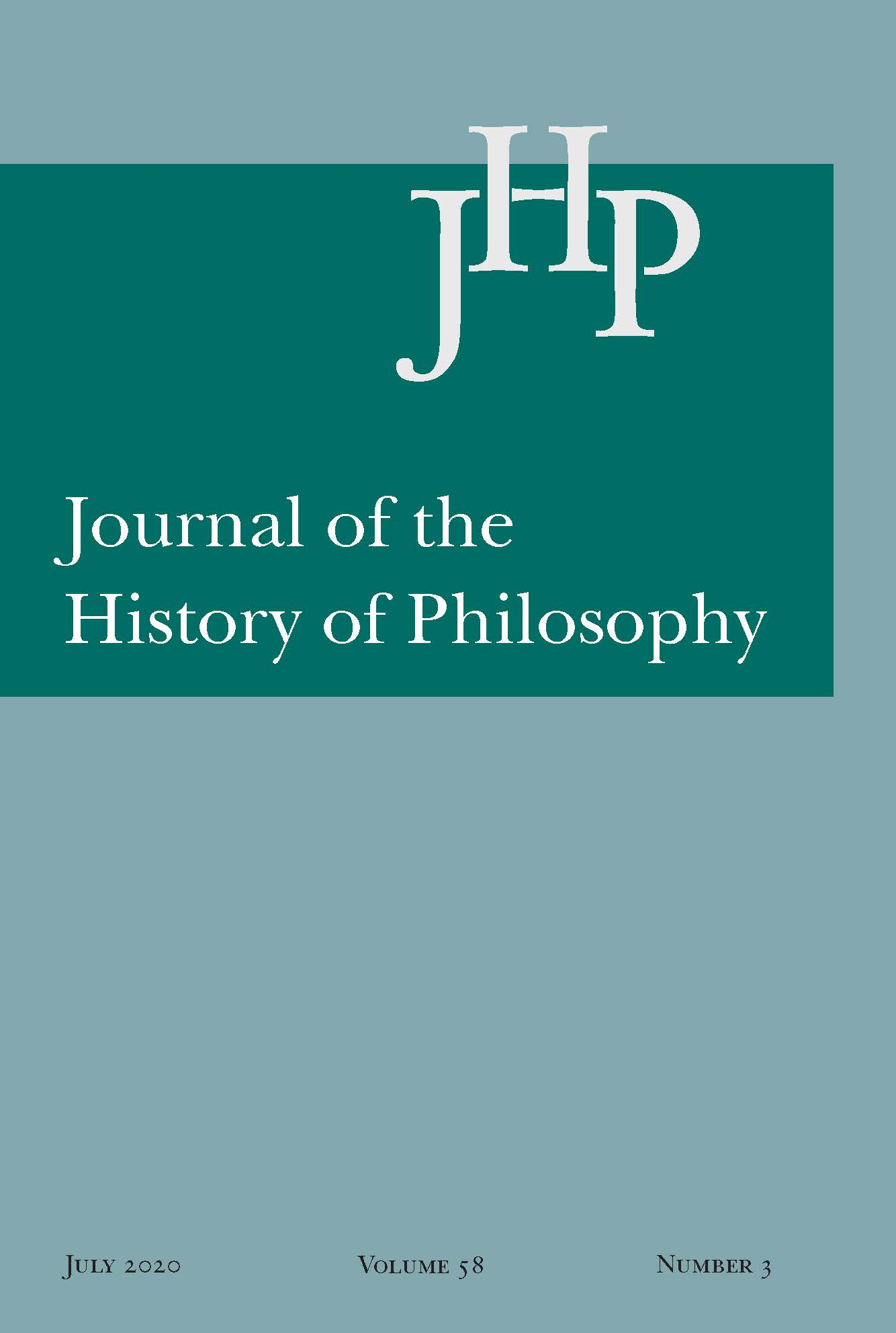 Journal of the History of Philosophy: Volume 58, Number 3, July 2020