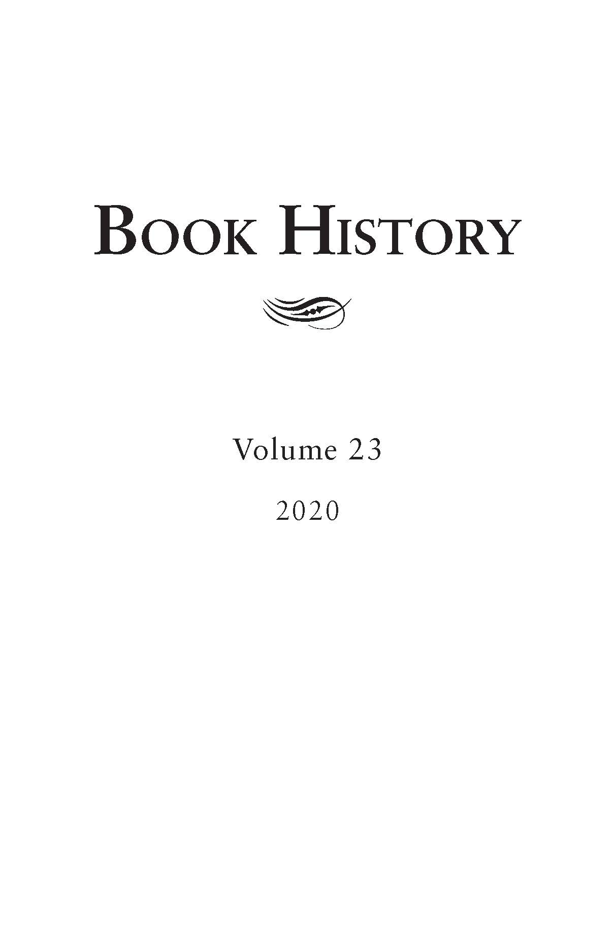 Book History: Volume 23, 2020