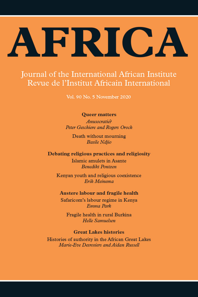 Africa: The Journal of the International African Institute: Volume 90, Number 5, November 2020
