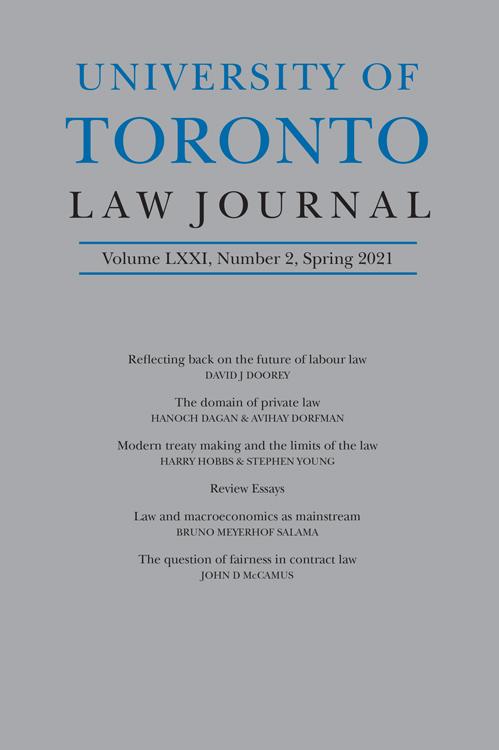 University of Toronto Law Journal: Volume 71, Number 2, Spring 2021