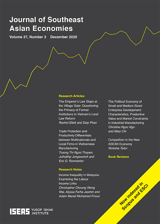 Journal of Southeast Asian Economies (JSEAE): Volume 37, Number 3, December 2020