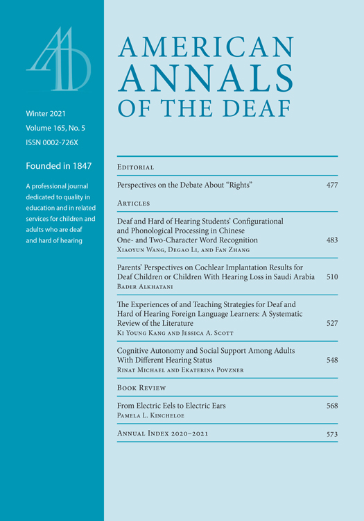 American Annals of the Deaf: Volume 165, Number 5, Winter 2021