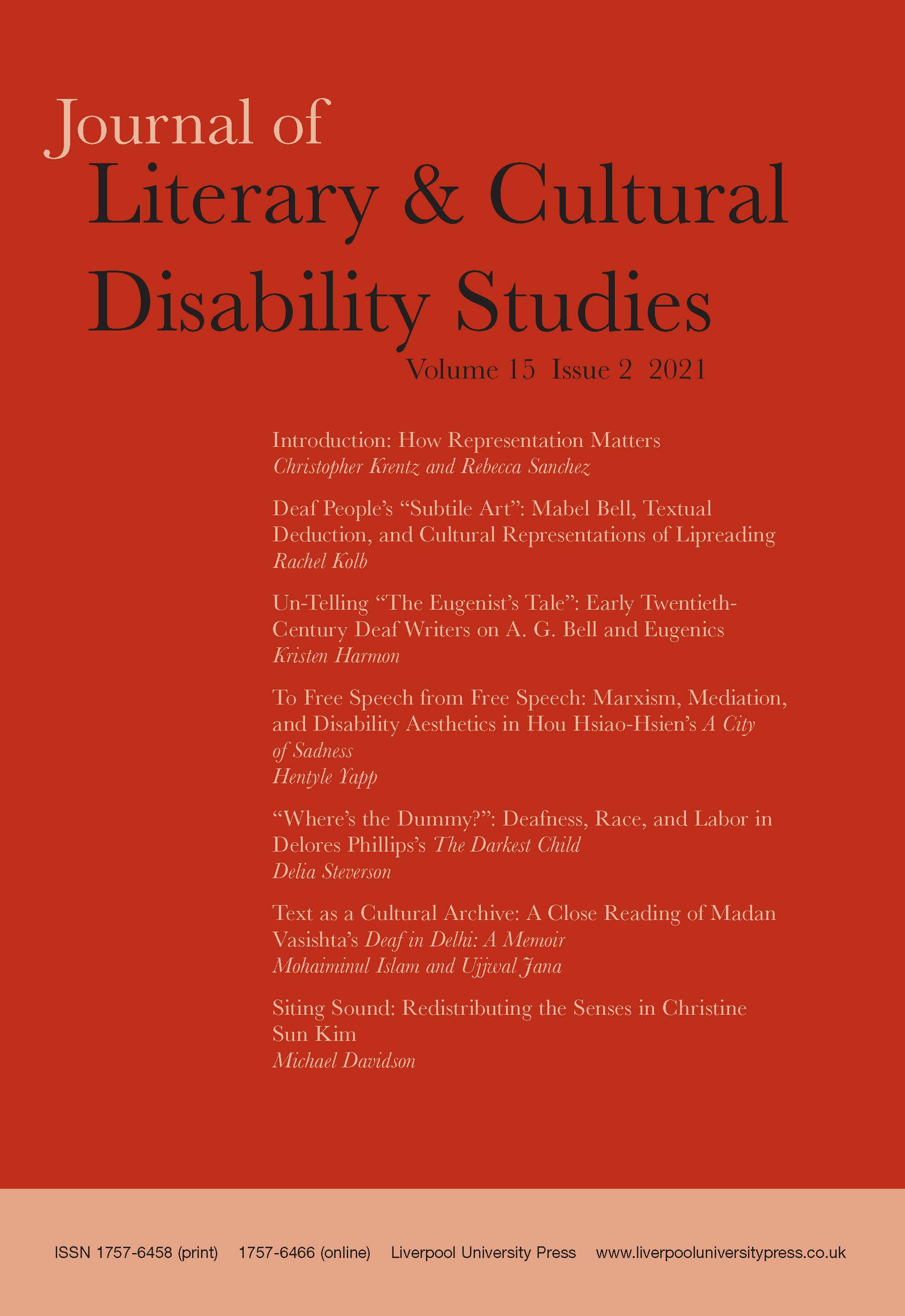Journal of Literary & Cultural Disability Studies: Volume 15, Issue 2, 2021
