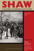 SHAW: The Journal of Bernard Shaw Studies